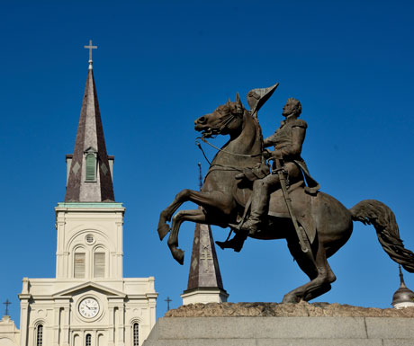 Americas Deep South tour - Andrew Jackson statue, Jackson Square, New Orleans
